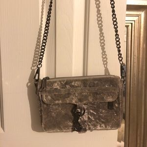 Grey Rebecca Minkoff Crushed Velvet mini MAC